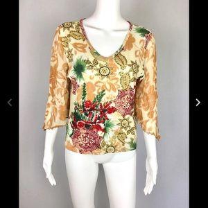 Bila Women's Top Size Petite XL Floral Sequin